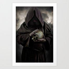 Holding a male skull Art Print