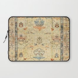 Fine Crafted Old Century Authentic Colorful Yellow Dusty Blues Greys Vintage Rug Pattern Laptop Sleeve