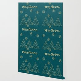 Merry Christmas Teal Gold Wallpaper