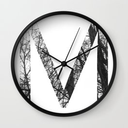 Minimal Letter M Print With Photography Background Wall Clock