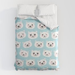 Kawaii cat with pink cheeks, pastel colors white blue pink  Comforters