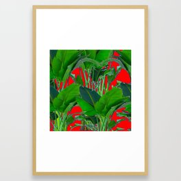 DECORATIVE RED & GREEN TROPICAL FOLIAGE ART Framed Art Print