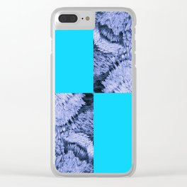 Season of the Square - Light Blue Check Clear iPhone Case