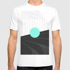 Teal White MEDIUM Mens Fitted Tee