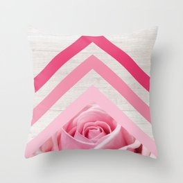 Pink Rose on White Wood - Floral Romantic Geometric Design Throw Pillow