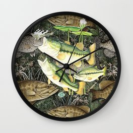 Live for the Catch- Bass Camo Wall Clock