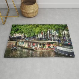 Amsterdam Houseboat on Canal Rug