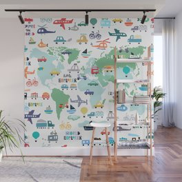 Travel The World Trains Planes Cars Trucks Map Wall Mural