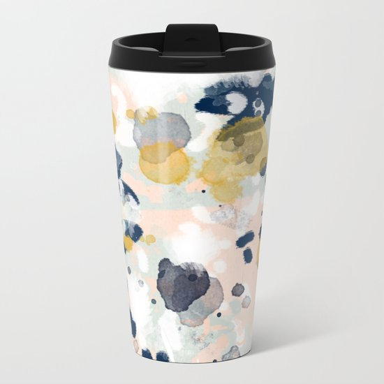 Noel - navy mint gold painted abstract brushstrokes minimal modern canvas art painting Metal Travel Mug