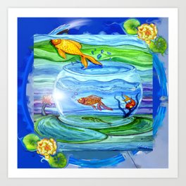 Jumping fish Art Print