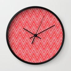 Salmon Pink Skinny Chevron Wall Clock