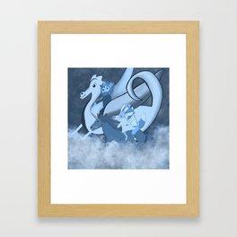 """Monochrome Midnight Blue """"Noble Steed"""" Children's Illustration Framed Art Print"""
