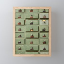 Old wooden cabinet with drawers Framed Mini Art Print