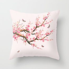 Pink Cherry Blossom Dream Throw Pillow