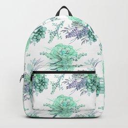 Succulents Mint Green Lavender Lilac Violet Pattern Backpack