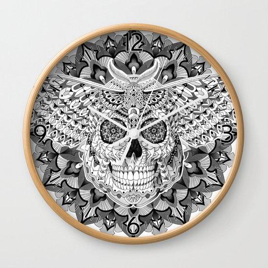Skull Moth Wall Clock