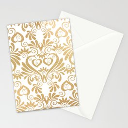 Gold foil swirls damask 14 Stationery Cards
