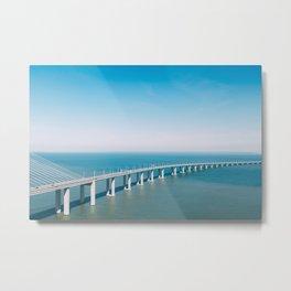 Aerial View Of Vasco da Gama Bridge, Aerial Photography, Architecture Wall Art, Lisbon Poster Metal Print