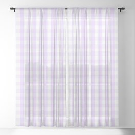 Chalky Pale Lilac Pastel and White Gingham Check Plaid Sheer Curtain