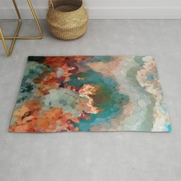 Turquoise Copper Agate Low Poly Geometric Triangles Rug