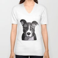 pit bull V-neck T-shirts featuring Pit Bull Dogs Lovers by Gooberella