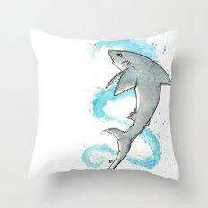 Shark - Watercolor Splatter Throw Pillow