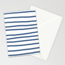 Simply Drawn Stripes in Aegean Blue and White Stationery Cards