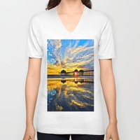 calendars V-neck T-shirts featuring Sunset ~ Huntington Beach Pier CA  11/7/13 by John Minar Fine Art Photography