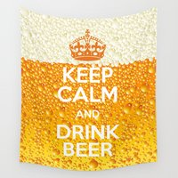 beer Wall Tapestries featuring Beer by Text Guy