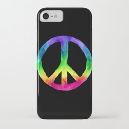 Rainbow Watercolor Peace Sign - Black Background iPhone Case