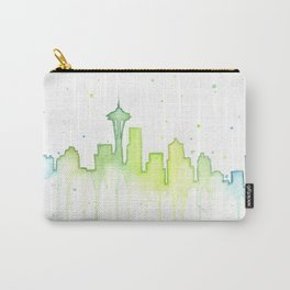 Seattle Skyline Watercolor Space Needle Painting Carry-All Pouch
