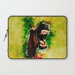 horse hilarious big mouth watercolor splatters yellow green Laptop Sleeve