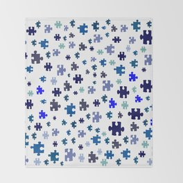 Jigsaw pieces of bluish colors. Throw Blanket