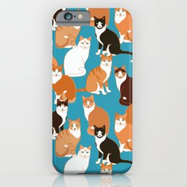 Ginger Cats on turquoise iPhone Case