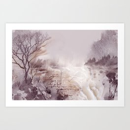 Bleak Beauty - Abstract Landscape in Mauve and Aubergine Art Print