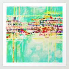 futuristic world in turquoise Art Print