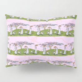 THE GIRL AND A LITTLE LAMB pink Pillow Sham