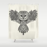 huebucket Shower Curtains featuring Barn Owl by Huebucket