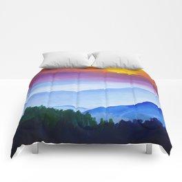 Smokey Mountain Sunset Comforters