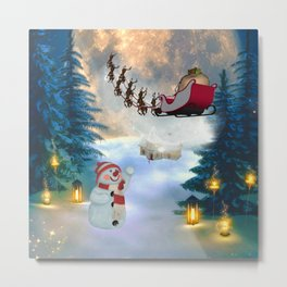 Christmas, snowman with Santa Claus Metal Print