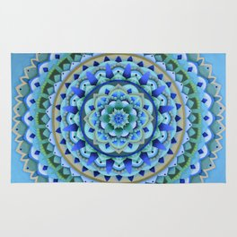 Cool Tones Mandala Rug
