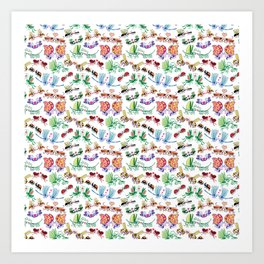 Funny insects falling in love posing for a pattern design Art Print