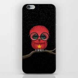 Baby Owl with Glasses and Vietnamese Flag iPhone Skin