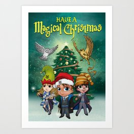 Magical Hogwarts Christmas (Ravenclaw) Art Print