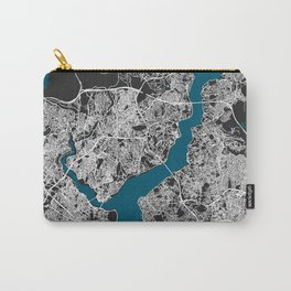Istanbul city map black colour Carry-All Pouch