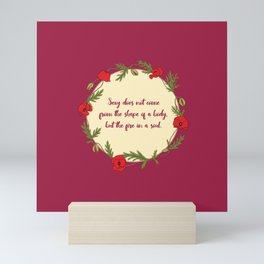 Poppy wreath with a quote Mini Art Print