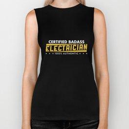 Certified Badass Electrician 100 Percent Authentic Tshirt Biker Tank