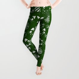 Christmas Cats and Ornaments (Green and White) Leggings