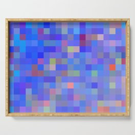 geometric square pixel pattern abstract in blue and pink Serving Tray