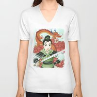 mulan V-neck T-shirts featuring Mulan by Aimee Steinberger